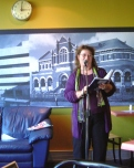 Frances hosting the 'An Afternoon with Tom (HUngerford)' event at Poets Corner@Pages Cafe in September 2005.